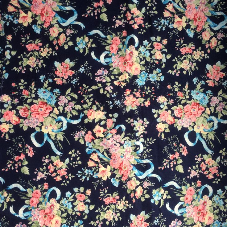 Vintage fabric with floral bouquets and ribbon, navy background, made by Rose & Hubble by HelloVintageUK on Etsy