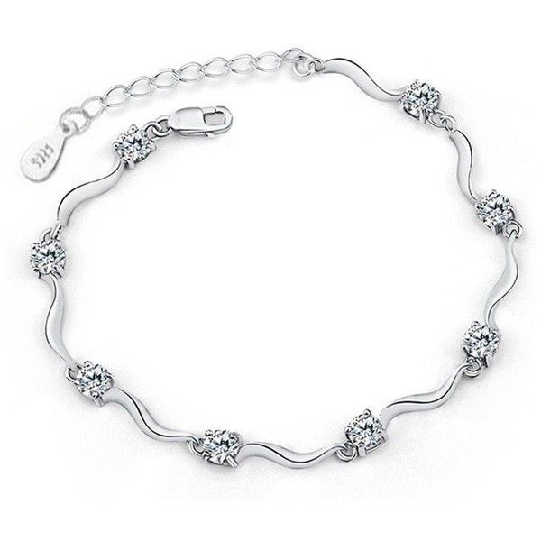 Silver clear CZ bracelet ❤ liked on Polyvore featuring jewelry, bracelets, silver jewelry, silver bangles, cz jewelry, clear crystal jewelry and chain link jewelry