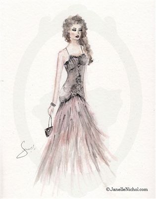 Blush Dress with black Embellishments Watercolor Art Print
