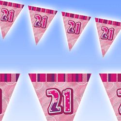 M55293 - Bunting - Happy 21st Birthday Bunting Happy 21st Birthday Glitz Pink 3.6m flag banner. Please note: approx. 14 day delivery