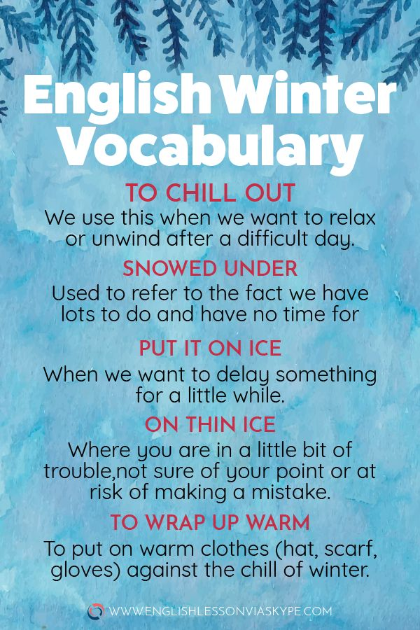 Enhance your Vocabulary: English Phrases and Phrases linked to Winter