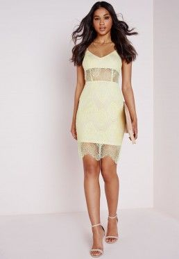 Lace Strappy Bra Insert Bodycon Dress Lime Green