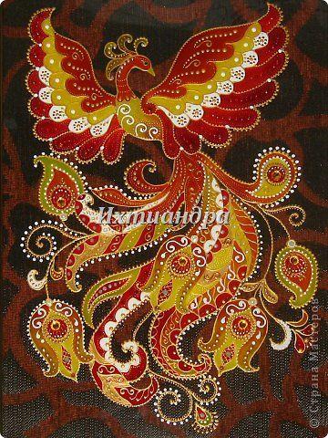 Картина панно рисунок День рождения Витраж Роспись Птица-жар Краска Стекло фото 1