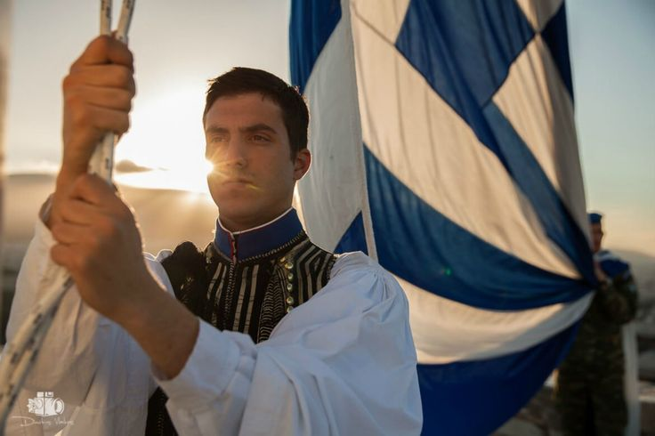 Greek Presidential Guard standing in front of the Parthenon temple during the…