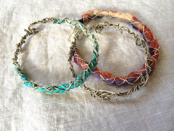 Bracelet, Felt and Wire Wrapped Bracelet, Wire Wrapped Jewelry, Textile Jewelry