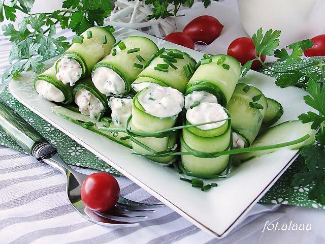 Ala piecze i gotuje: Ogórkowe roladki z nadzieniem serowo warzywnym