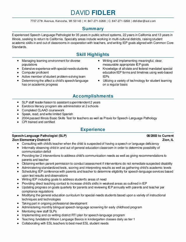 Pin By Jessica Spaw On Career Resume And Cover Letter Speech Language Pathologists Speech And Language Resume Examples