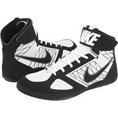 Nike Takedown Mens Wrestling Shoes Black/white Size 9 Nike. $54.99. Rubber outsole with forefoot wraps for advanced traction. Synthetic upper with breathable mesh. synthetic-and-mesh. Ankle strap keeps laces locked in. Full-length EVA midsole for optimal ground control. Pin him to the mat while sporting the Nike Take Down Three-Quarter Men's Wrestling Shoe, jam-packed with ventilated mesh and a reinforced design for get-low control.