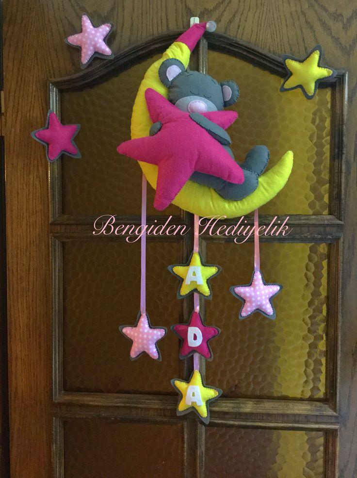 Bengiden Hediyelik: Ayıcıklı kapı süsü, yıldızlı arkadı bantlı süsler ekstra, bebek hediyesi, kız bebek, hastane hazırlıkları, yenidoğan, hediyelik, keçe, felt, keçe tasarım, feltcraft, handmade, elyapımı