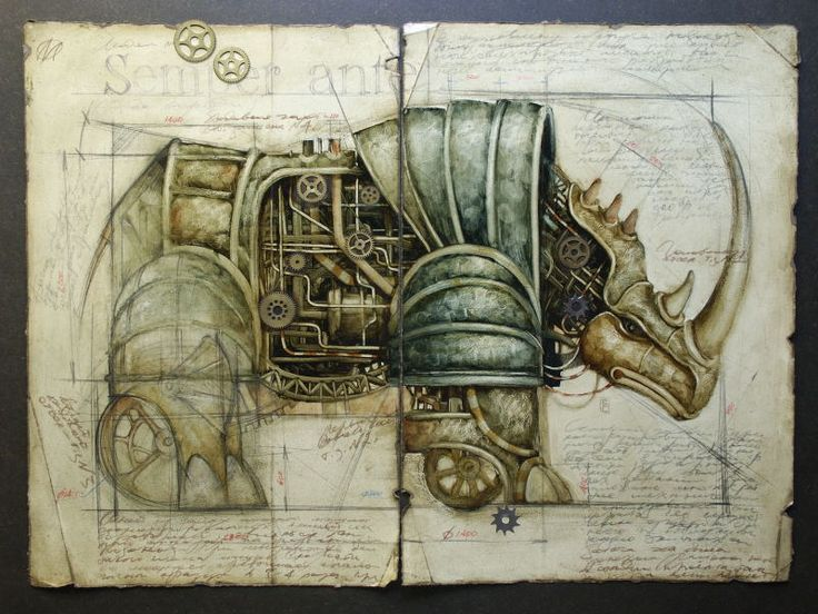 (some very beautiful drawings by Vladimir Gvozdarikie of machine animals that seem to come out from some Industrial utopian world.)
