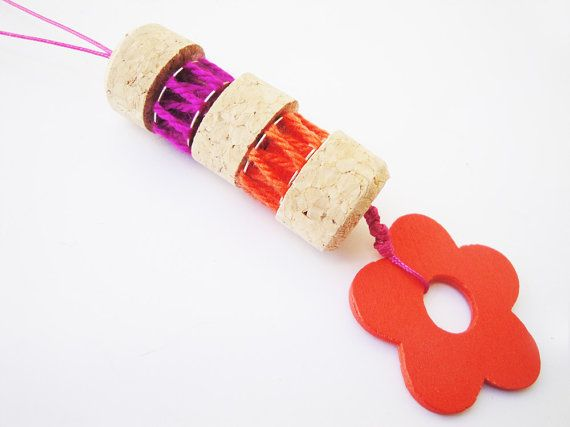 Check out this item in my Etsy shop https://www.etsy.com/listing/236612850/flower-necklace-cork-necklace-orange