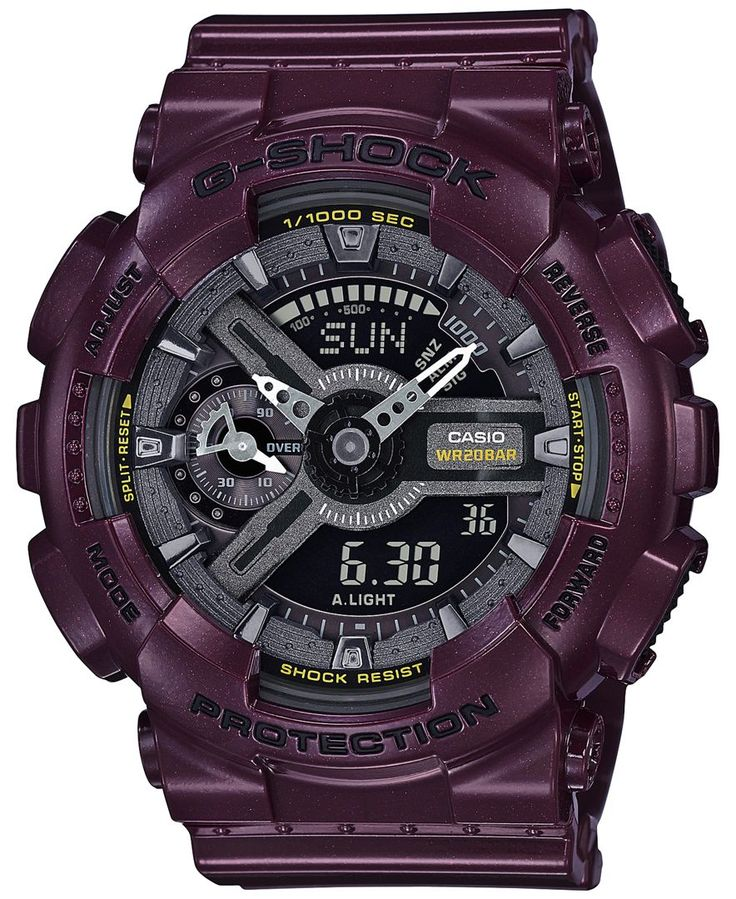 Rich tones combine with fantastic features to create this sporty chic timepiece from G-Shock's S-Series collection. | Purple resin strap | Rounded case, 46x49mm | Black dial with stick indices, two ha