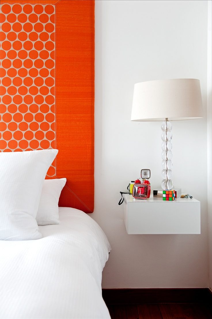 orange headboard. design by Agnes Verrier. Photographed by Scott Woodward.