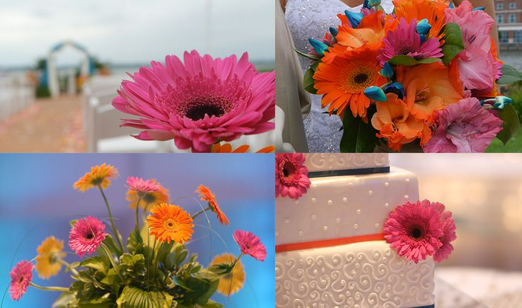 Bright and bold wedding flowers
