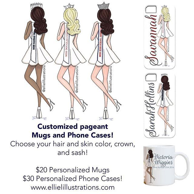 You guys asked for it and now there are pageant gifts available at a low price! Custom mugs and phone cases are available at www.ellielillustrations.com. Just pick your hair/skin color and let me know what pageant crown and sash. Don't forget to use coupon code Vday for 20% off! #missnebraska #misskansasusa #misshighschoolamerica #mhsa #pageant #missusa #missteenusa #nam #nationalamericanmiss #ijm #internationaljuniormiss #missamerica #missgalaxy #missuniverse