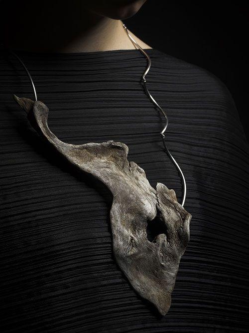 Neckpiece: Storm Island Adrift, 2013 - Tasmanian Wilderness Driftwood , Sterling Silver + silk - by Linda van Niekerk
