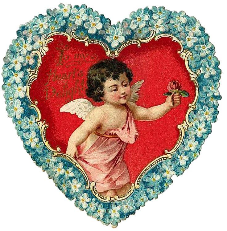 Открытка ангелочек сердечком