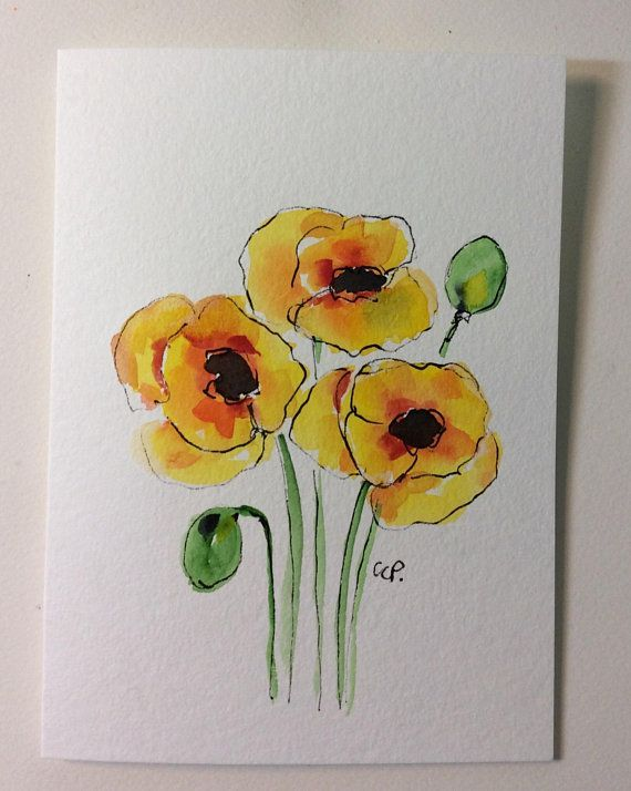 Yellow Poppies Watercolor Card Hand Painted Watercolor Card