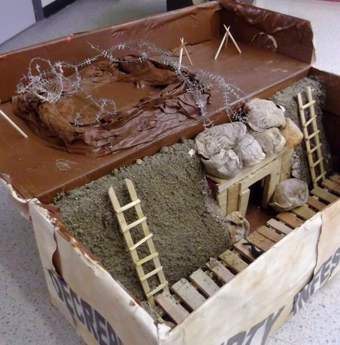 Ww1 Trench Project Shoe Box World History Projects History Projects Trench