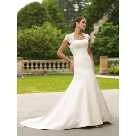 A-line chapel train wedding dress