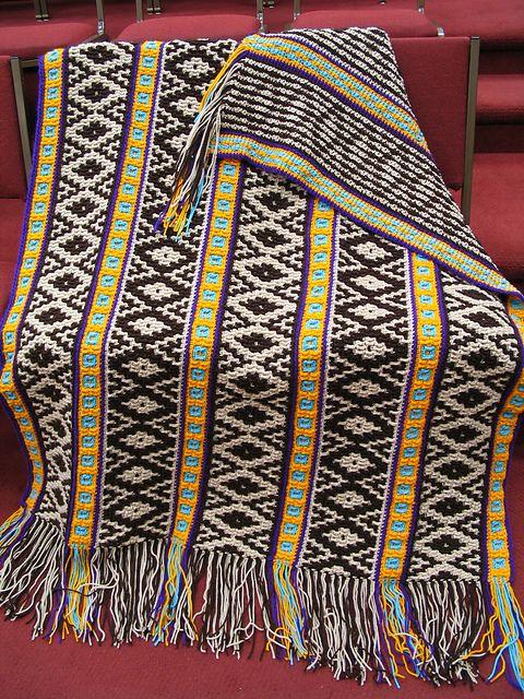 Tribal Spirit tapestry crochet throw/ pattern