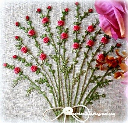 Lavanda e Lillà - lovely embroidered floral spray with bullion roses....: