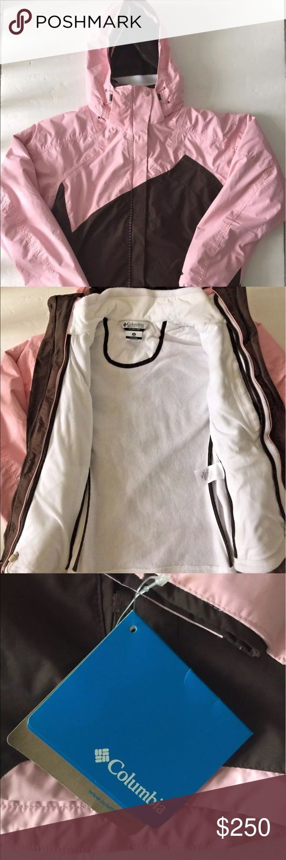Columbia Pink Interchange Winter Coat Parka M NWT Brand new with tags.  Never worn.  Discontinued model.  3-in-1 parka.  Removable fleece on the inside.  Hood is also removable.  Perfect for skiing, casual wear, and snow! Columbia Jackets & Coats