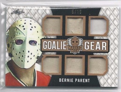 2017 LEAF Masked Men BERNIE PARENT GOALIE GEAR Game Used SSP 5/15 GG-02