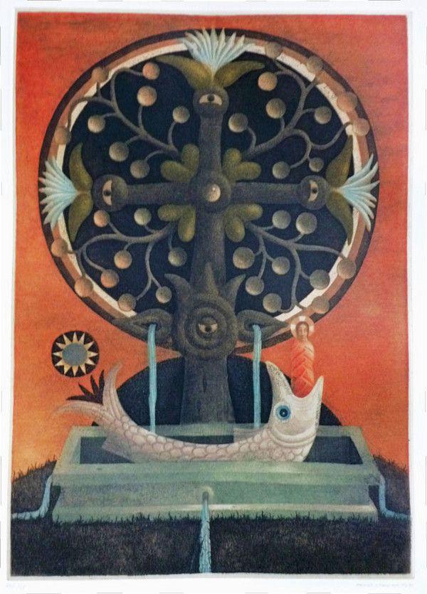 Ernst Steiner . Untitled (Tree of Life & Fish) Ernst Steiner Color etching 29 x 20.5 cm.