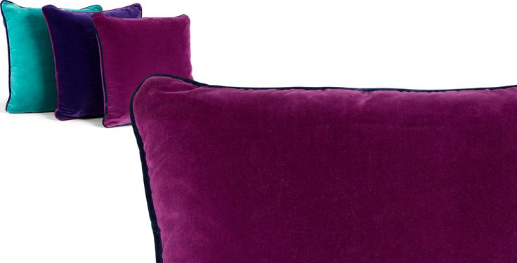 Mya Cotton Velvet Cushion 50 x 50 cm, Plum with Purple Piping from Made.com. Express delivery. Pop of Colour..