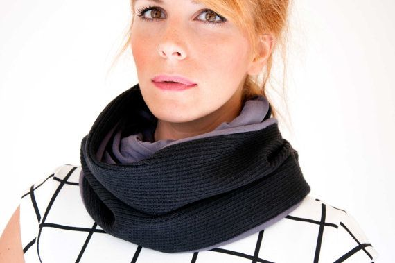 Black Infinity scarf  ribbed wool neck warmer  by clothbotshop
