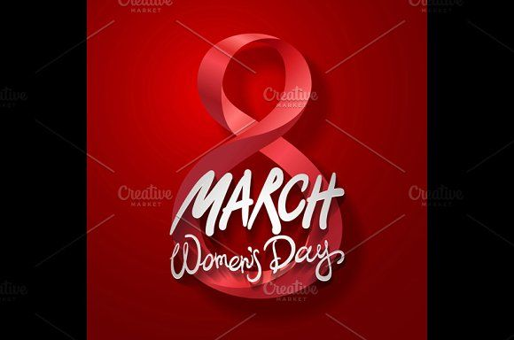 8 March women day, vector. red by Rommeo79 on @creativemarket