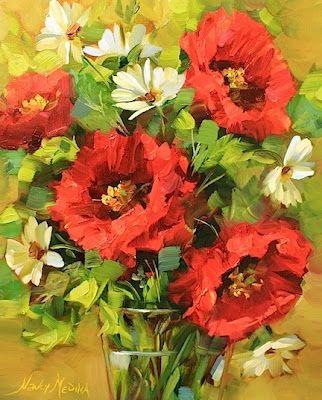 Fresh Air Poppies and Daisies by Texas Flower Artist Nancy Medina, painting by artist Nancy Medina