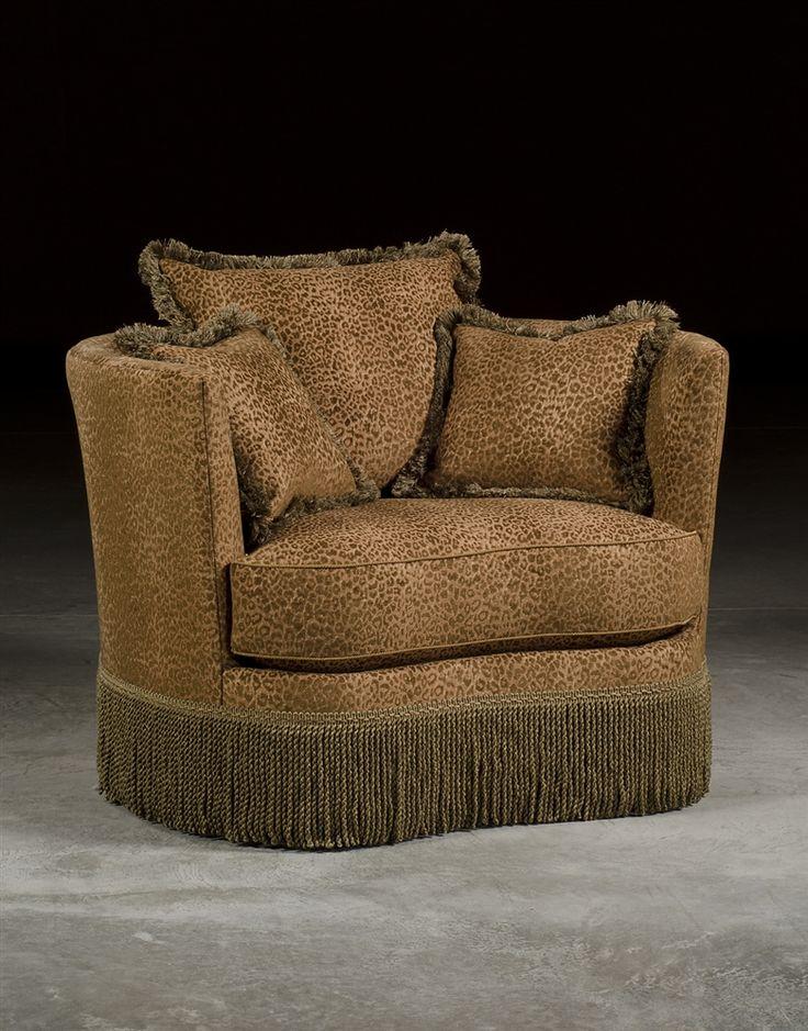 Leopard Print Swivel Barrel Chair Luxury Upholstered
