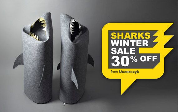 SHARK. Felt laundry basket for bathroom or children's room  as a basket for toys from Uczarczyk. Fun Kids Storage. Silver gold � Uczarczyk,