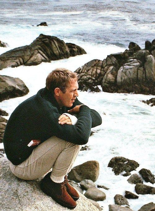 Steve McQueen on the California coast in Carmel,1964, by William Claxton                                                                                                                                                      Plus