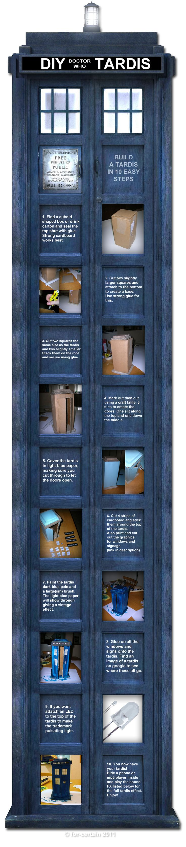 Whovian craft time!! This would be fun to make sometime when I actually HAVE time. (I think I need a TARDIS just to be able to make a TARDIS...)