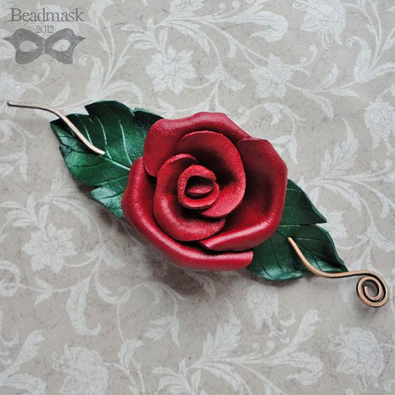 Red Rose Leather Hair Slide Or Shawl Pin by beadmask on Etsy, $30.00