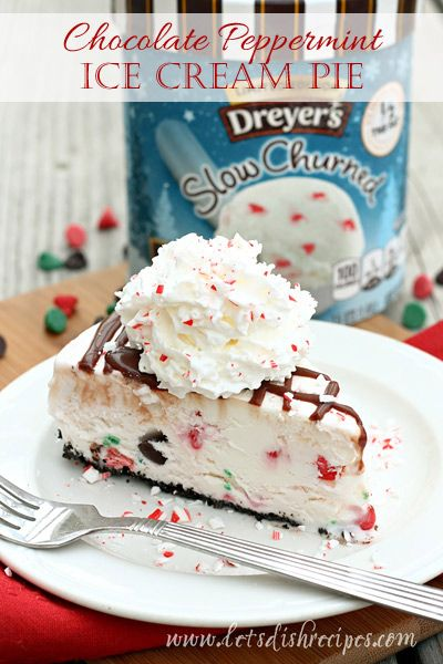 Chocolate Peppermint Ice Cream Pie on MyRecipeMagic.com