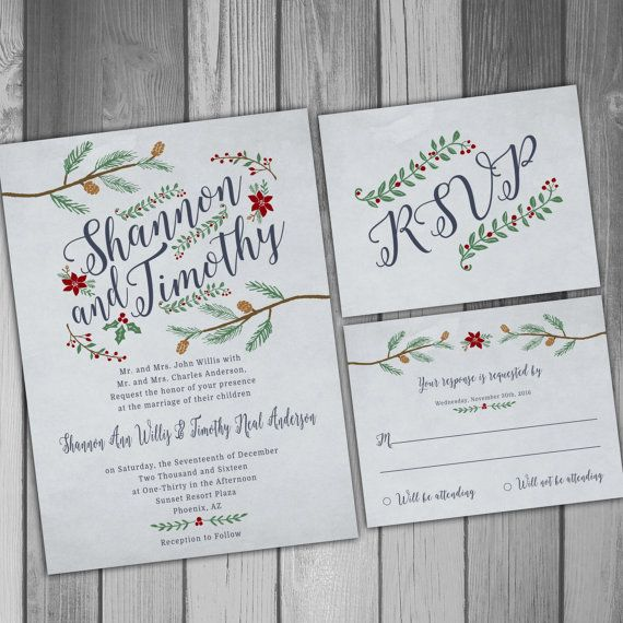 Wedding Invitation Winter Wedding Christmas Wedding Printable Wedding Printed Invitations Rustic Wedding Rustic Invitation RSVP Card