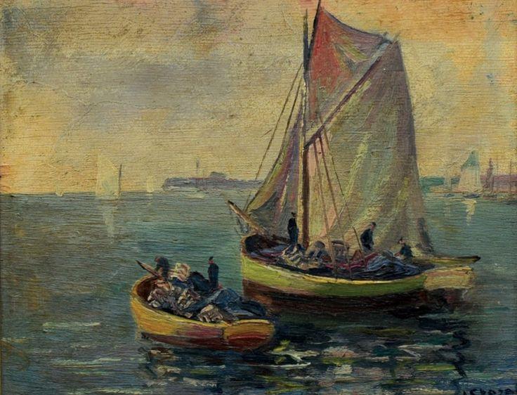 NEURČENÝ  AUTOR : Dvě lodě na moři.