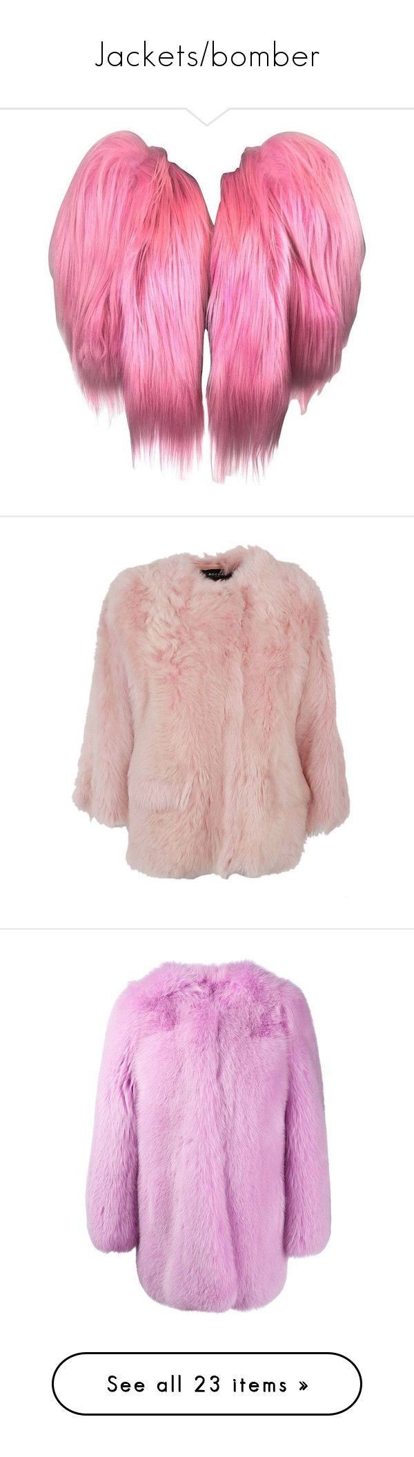 """""""Jackets/bomber"""" by wiffeyhaila ❤ liked on Polyvore featuring outerwear, jackets, coats, pink, cropped fur jacket, dolce gabbana jacket, pink fur jacket, pink jacket, fur jacket and straight jacket"""