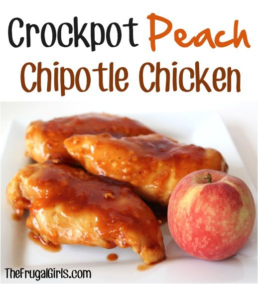 Crockpot Peach Chipotle Chicken Recipe! ~ from TheFrugalGirls.com {just a few ingredients for this simple crockpot dinner ~ it's absolutely delicious, and oh-so-easy!} #crockpot #chicken #recipes