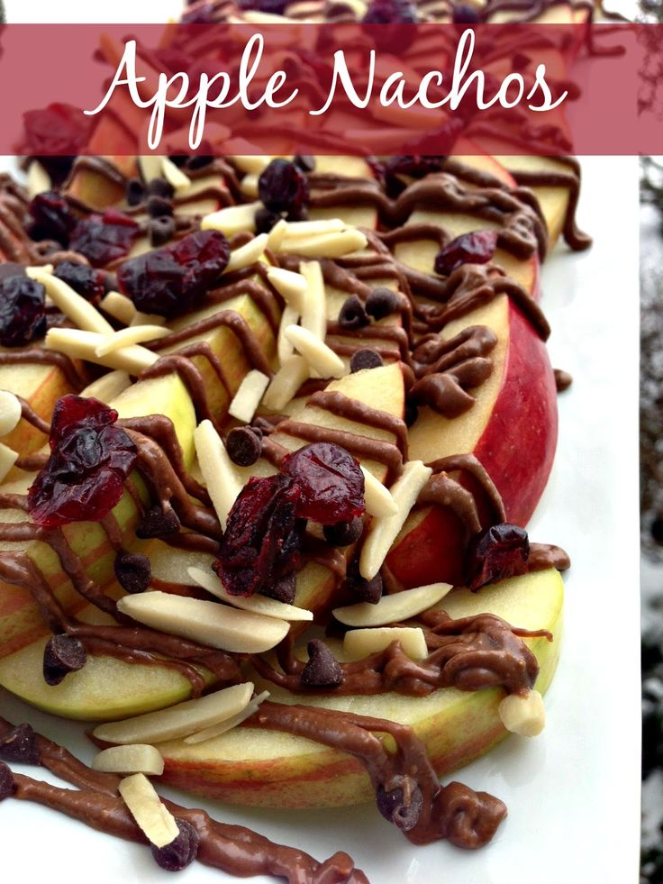 Apple Nachos with Reese's Spreads   A delicious snack the whole family will love!  #ReesesSpreads #Contest