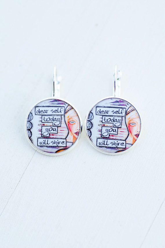 Uplifting Message Motivational Art Earrings Girl by LadyArtTalk
