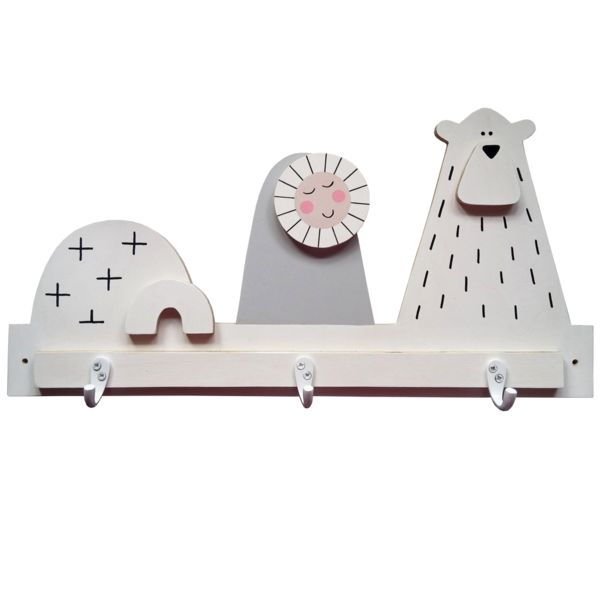 These eco-friendly  arctic scene hooks will add a touch of fun to any child's bedroom decor. Made of 9 mm birch plywood responsibly sourced, the set comes with 3 single robe hooks and screws directly unto the wall.DIMENSIONS:  (W) 50cm x (H) 25cm