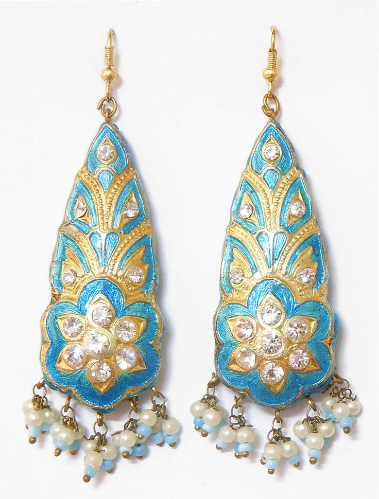 Light+Blue+with+Golden+Dangle+Lac+Earrings+(Lac,+Bead+and+Stone)