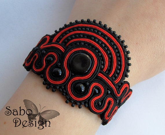 Soutache bracelet handmade embroidered in red black by SaboDesign.