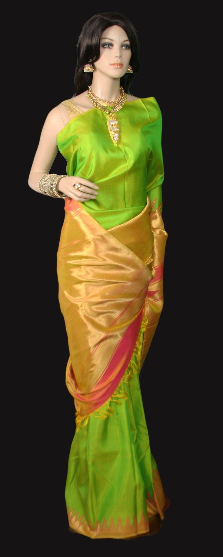 Lime Green Two Tone Kanjeevaram Saree with Rising Temple Border