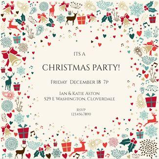Signs of the Season - Free Printable Christmas Invitation Template | Greetings Island